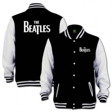 THE BEATLES MEN'S VARSITY JACKET: DROP T LOGO WITH BACK PRINTING
